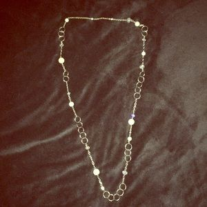 Silver and Pearl with Clear Crystal Long Necklace